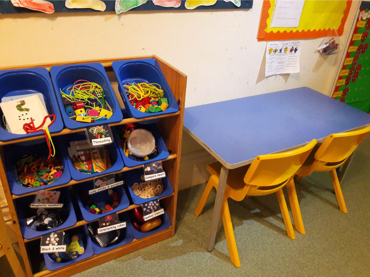 Arts and crafts area for preschool students