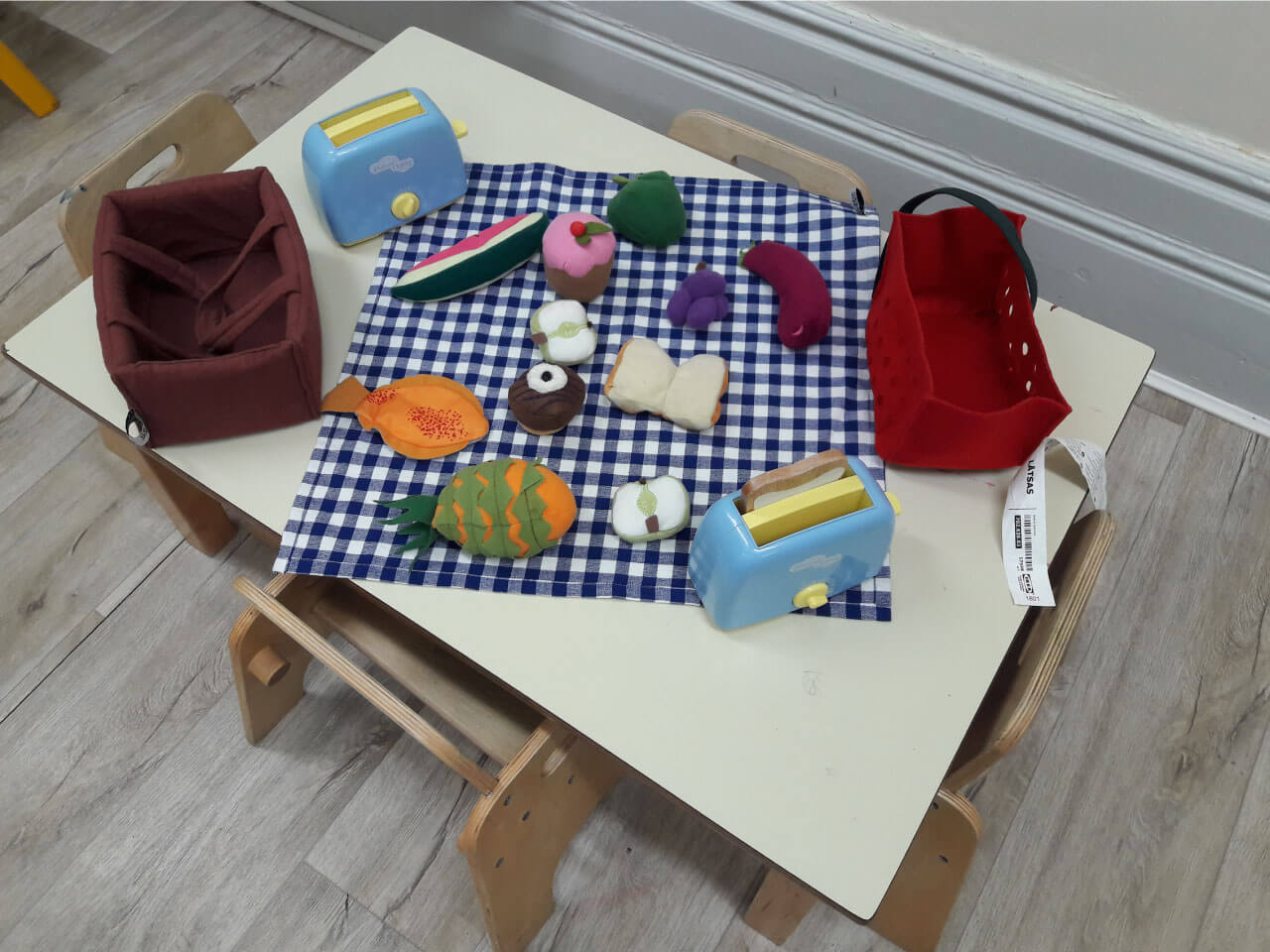 Soft toys made to look like food to help children learn