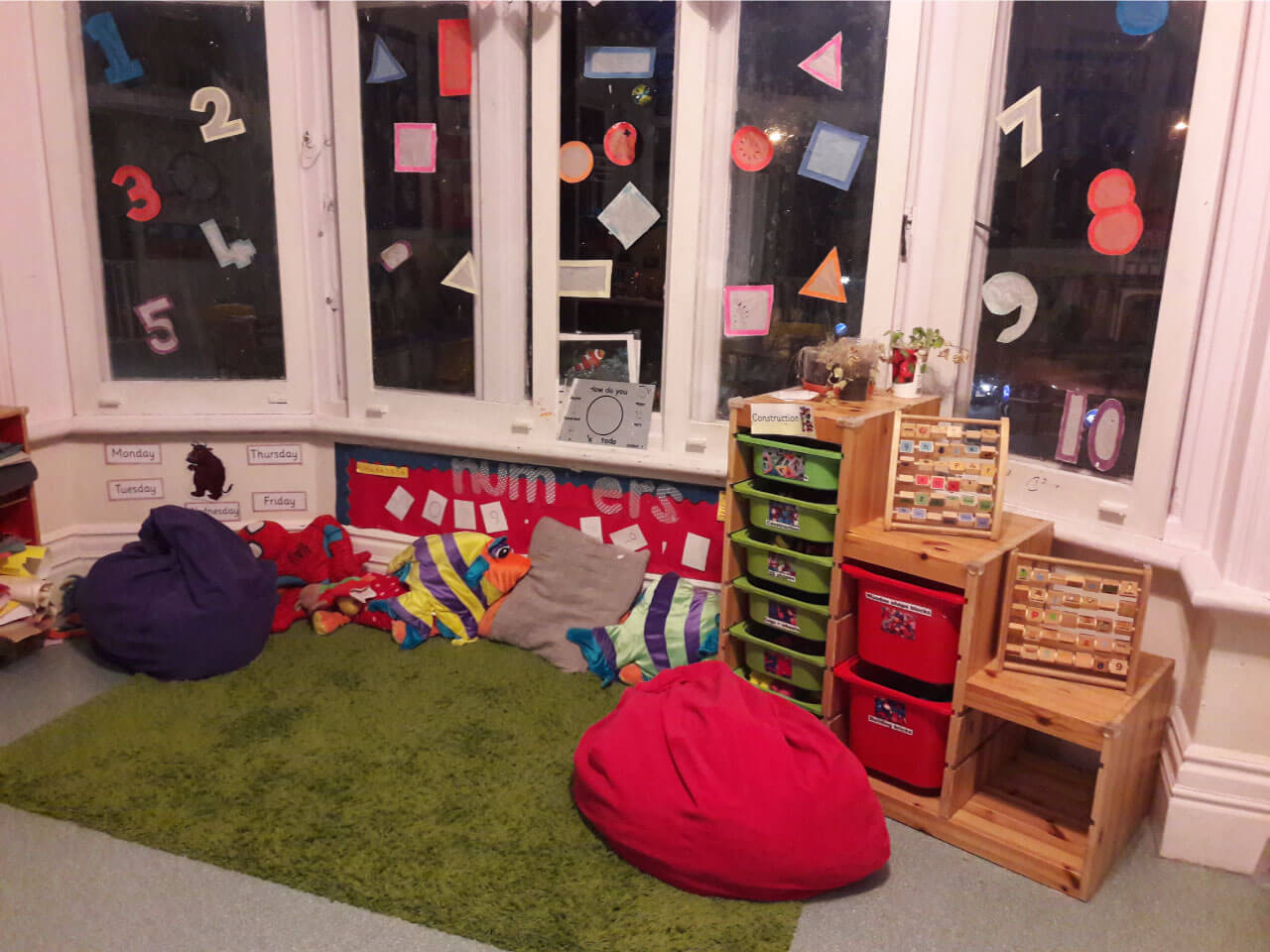 Numbers learning area at Bright Swans to help preschool children with their maths