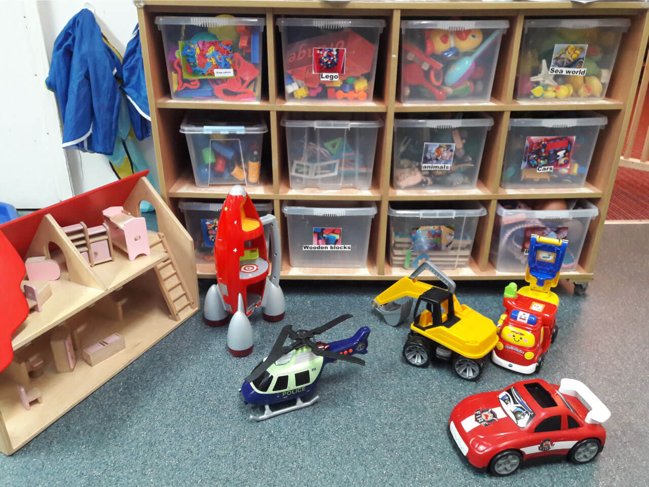 Boxes full of toys for toddlers to use